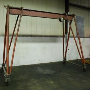 Wallace 10 Ton Portable Gantry Crane Hoist Lift 20 000 Lb 15 Span 19 Height