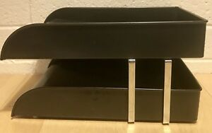 Vintage Cw Systems Metal Double stack Mid century Brown Paper Tray Legal Chrome