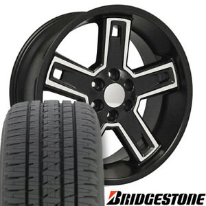 22 Rims Tires Fit Gm Chevy Sierra Silverado Dd Satin Blk Machd Wheels Bda 5664