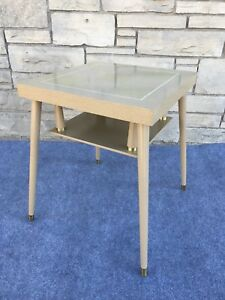 Mid Century Modern 20 Square 2 Tier End Table Blonde Parque Laminate