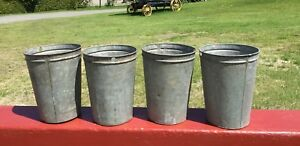 4 Old Galvanized Sap Buckets Maple Syrup Flowers Crafts L K