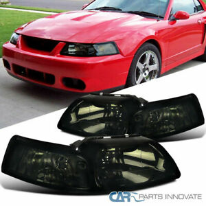 99 04 Ford Mustang Replacement Euro Smoke Tinted Headlights Driving Head Lamps