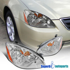 For 2002 2004 Nissan Altima Jdm Chrome Clear Headlights W Amber Reflector