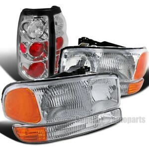 2004 2006 Gmc Sierra 1500 2500 3500 Chrome Headlights Bumper Lamps Tail Lights