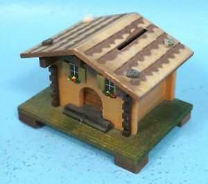 Vintage Swiss Wood Carving Coin Bank Box Chalet Farm House Desk Item Brienz