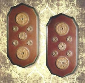 Chinese Ancient Coin Motif Display Plaques Wall Art 6632