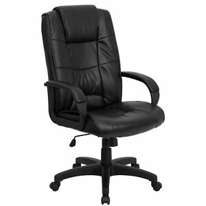 Ermine Black Leather Executive Adjustable Swivel Office Chair With Headrest