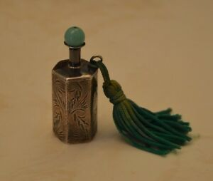 Rare Chinese Scent Bottle Engraved Sterling Silver W Jade Stopper 2in High