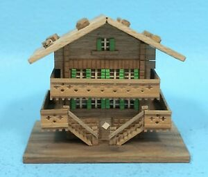 Vintage Swiss Wood Carving Trinket Stamp Box Chalet Farm House Desk Item
