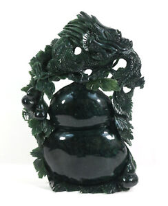 12 100 Green Jade Hand Made Chinese Dragon Pear Tree Stone Statue Figurine