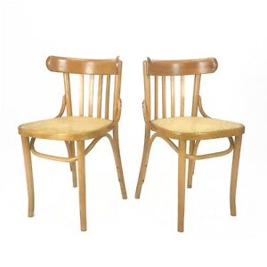 Vtg Antique Romanian Maple Bentwood Cane Side Chairs Pair Set Of 2