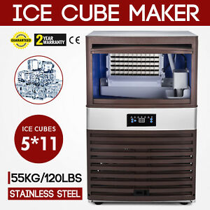 55kg 120lbs Intelligent Ice Cube Making Machine 55 Cases Auto Clean Canteens