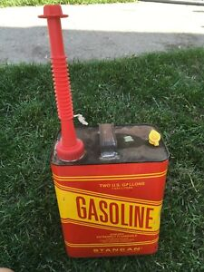 Vintage Stancan 2 Gallon Vented Gasoline Can W cap Flexible Spout Gas Pre ban