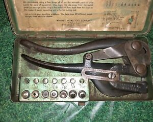 Vintage Whitney No 5 Jr Punch In Metal Case With Label