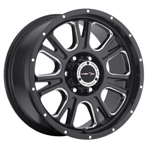 4 New 20 Inch Vision 399 Fury 20x9 6x135 12mm Black Milled Wheels Rims