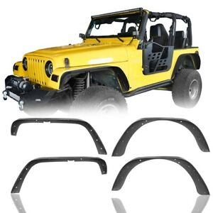 Textured Steel Flat Style Fender Flares Fit For 1997 2006 Jeep Wrangler Tj