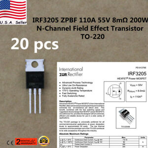 20x Irf3205 Mosfet N channel 55v 110a To 220 Hexfet Power Transistor Irf3205zpbf