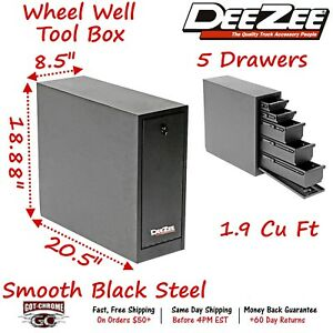 Dz 95d Dee Zee Tool Box Wheel Well Box With Drawers Black Steel Full Size Truck