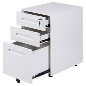 Office Bedroom Room Metal Rolling Sliding Drawer A4 File Storage Cabinet 2colors