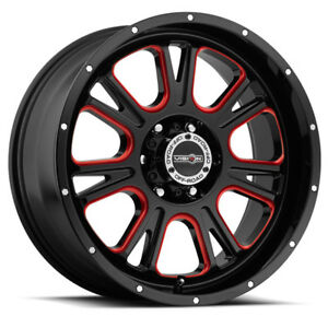 4 New 20 Inch Vision 399 Fury 20x9 6x5 5 10mm Black Milled Red Wheels Rims