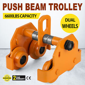 Push Beam Trolley 3 Ton Dual Wheels Pre lubricated Sealed Bearings Steel