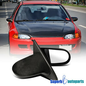 For 1992 1995 Honda Civic Real Carbon Fiber Manual Mirrors
