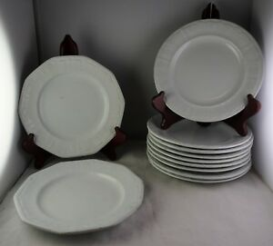 11 T R Boote Antique White Ironstone Side Plates 9 Round Sydenham C 1851