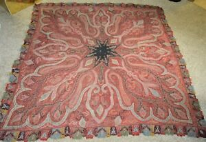 19th Century Kashmir Shawl Tapestry Paisley Red Excellent Condition