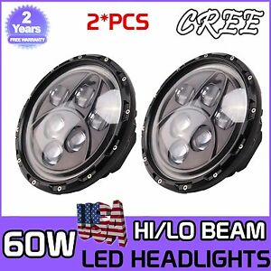 2x 7 inch 60w Round Led Halo Angel Eyes Headlight Hi lo For Jeep Wrangler Tj jk