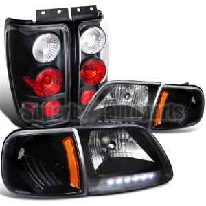 1997 2002 Ford Expedition Crystal Headlight Corner Lamps Tail Brake Lights Black