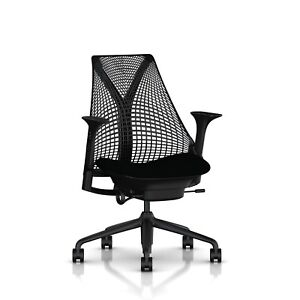 Herman Miller Sayl Task Office Desk Chair Stationary Seat Depth Arms Licorice