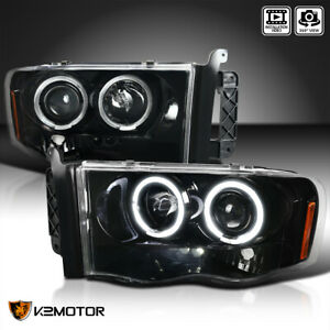 Jet Black For 2002 2005 Dodge Ram 1500 2500 3500 Halo Projector Headlights Pair