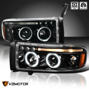 Jet Black 1994 2001 Dodge Ram 1500 2500 3500 Dual Halo Led Projector Headlights