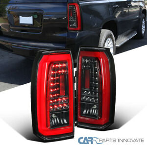 For 15 18 Gmc Yukon Suv Pearl Black Led Tail Lights Rear Brake Reverse Lamps