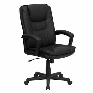 Eshka Black Leather Executive Adjustable Swivel Office Chair With Headrest