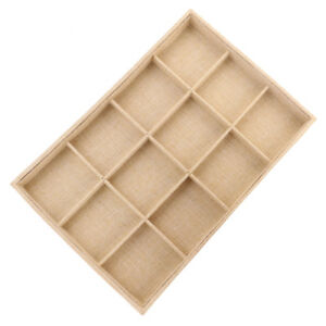 12 slot Jute Lining Jewelry Box Necklace Display Stand Beige