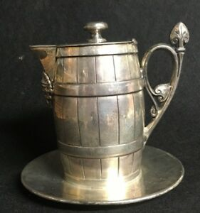 Reed Barton Vintage Silver Plated Lidded Barrel Creamer W Attached Plate
