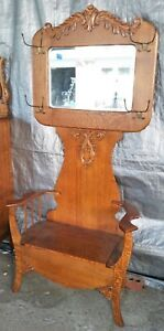 American Quartersawn Tiger Carved Oak Hall Tree Seat Bench Mirror 1900 S