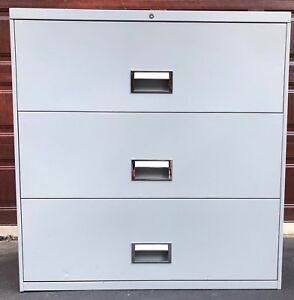2 Harper 3 Drawer Lateral File Cabinets Used Gray Metal 37 h 36 w 18 5 d