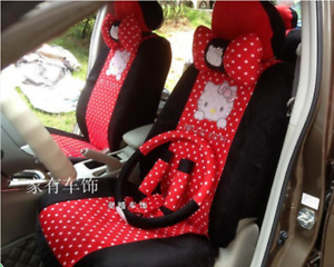 2018 New Cute 10 Pcs Hello Kitty Universal Red Polka Dot Car Seat Covers