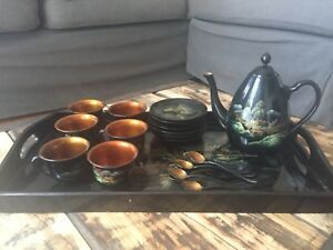 Antique Lacquer Ware Tea Set Hand Painted Wood