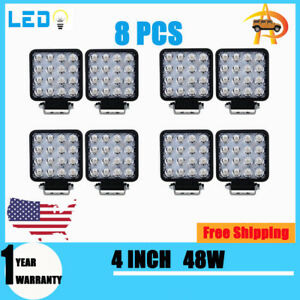 8x 48w 4inch Led Work Light Flood Beam Tractor Truck Trailer Driving Lamp