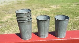 2 Galvanized Sap Buckets Old Patina Flowers Decor Need More