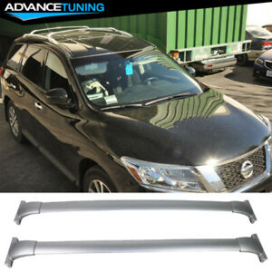 Fits 13 17 Nissan Pathfinder Roof Rack Top Cross Bar Rail Pair Silver Aluminum