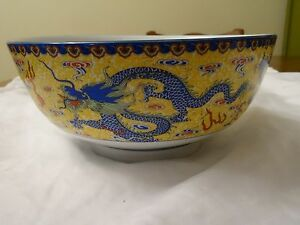 Chinese Porcelain Bowl Hand Painted Blue Dragons Yellow Lat