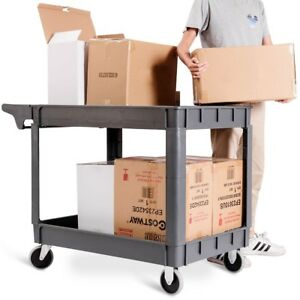 Plastic Utility 2 Shelves Pp Rolling Service Cart Shop Office Warehouse Tray