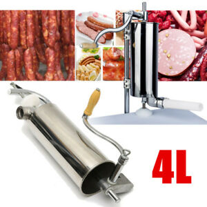 4l Sausage Stuffer Maker Meat Filler Machine Stainless Steel Commercial 4 Tube