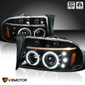 Jet Black 97 04 Dodge Dakota 98 03 Durango Led Dual Halo Projector Headlights