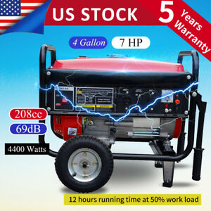 Portable 4400w Gasoline Gas Generator Emergency Home Back Up Power Air cooled F