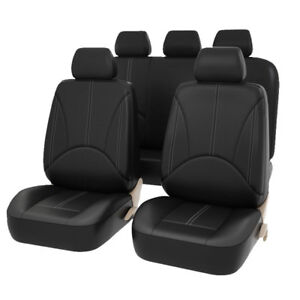 Pu Leather Auto Universal Car Seat Covers Full Front Rear Seats Protector Black